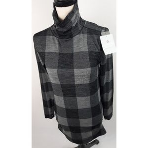 Athleta Buffalo Check Wool Turtleneck Wool Large